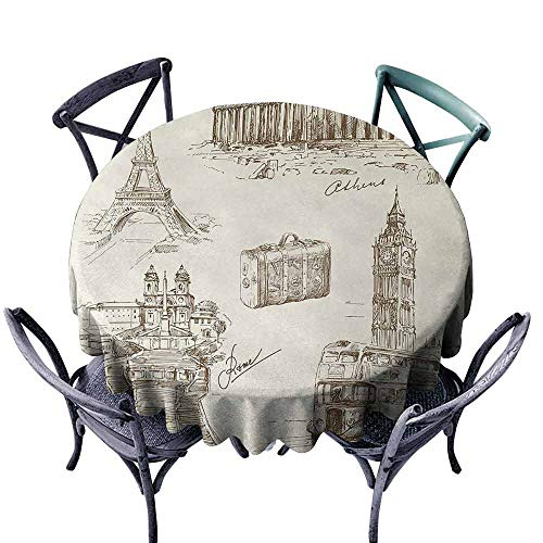 (HCCJLCKS Restaurant Tablecloth Travel Sketch Art Collection of Travel Over European Landmarks and Vintage Style Suitcase Soft and Smooth Surface D55 Beige Black)
