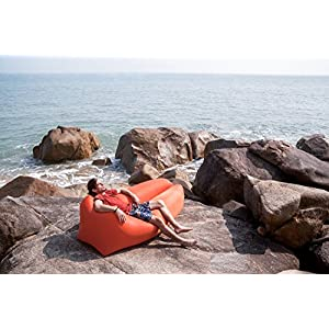 The New Castaway Reef Inflatable Lounge Chair Hammock, made with top-grade materials and real nylon. More comfortable than any beach chair, camping chair, airbed, air sofa, hammock or party lounger