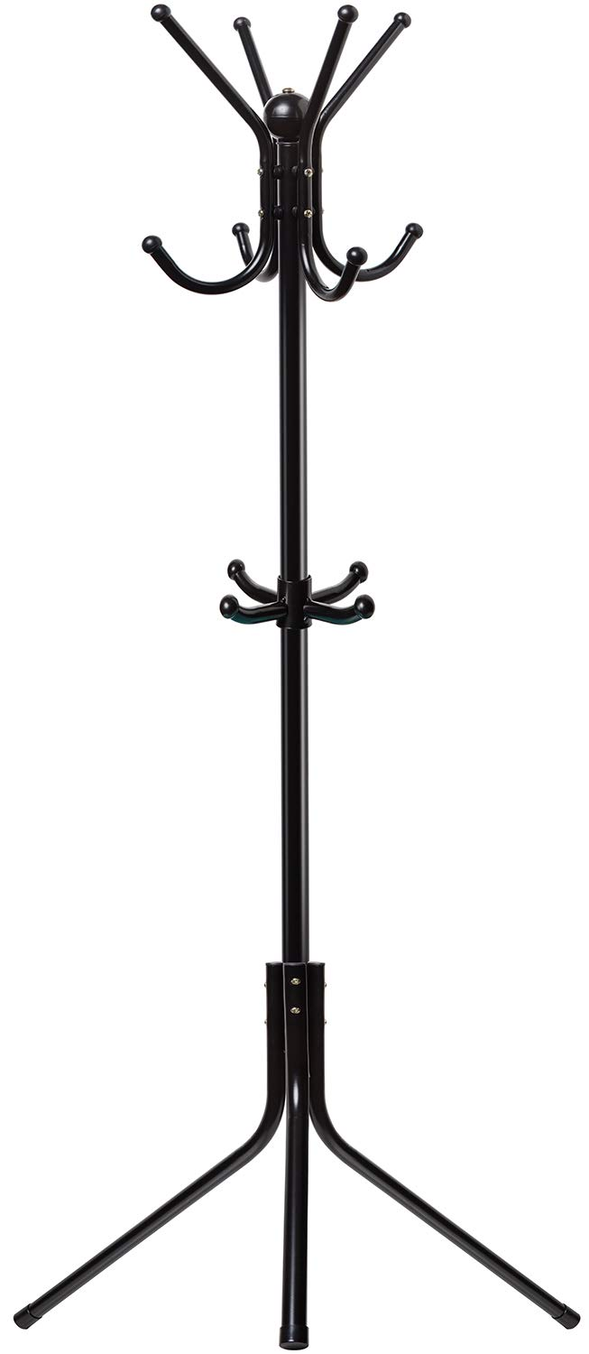 OxGord Free-Standing Coat Rack Entry-Way - Metal Base Tree Stand Holder with Hooks for Hanging Jacket Hat Umbrella by OxGord