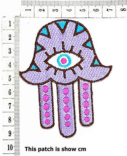 Purple Hamsa Hand Evil Eye Amulet Cartoon Chidren Kids Embroidren Iron Patch/Logo Sew On Patch Clothes Bag T-Shirt Jeans Biker Badge Applique