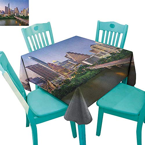 longbuyer Modern,Printed Tablecloth,Austin Texas American City Bridge Over The Lake Skyscrapers USA Downtown Picture,36