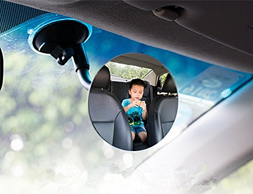 Moyishi Blind Spot Adjustable Baby Car Mirror 360° Rotate Suction Cup Long Arm Rear Facing Mirror For All Universal Vehicles Car Fit (Round)