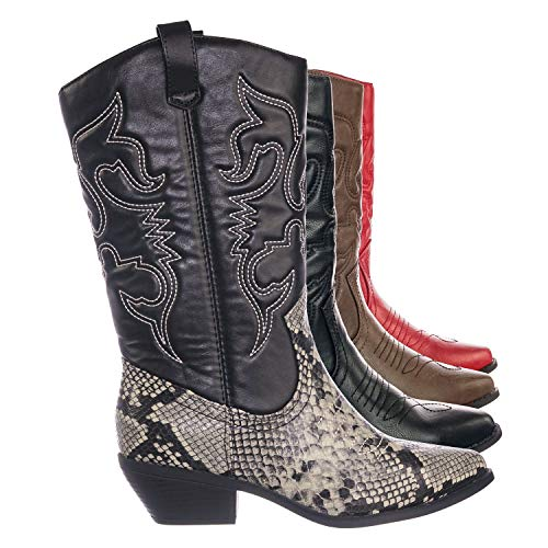 (SODA Womens Reno Calf High Cowboy Cowgirl Boots - Pointed Toe Block Heel Western Embroidered (Gray Python, 8) )