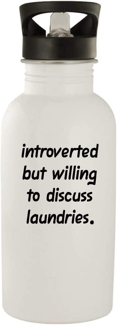 Introverted But Willing To Discuss Laundries - 20oz Stainless Steel Water Bottle, White