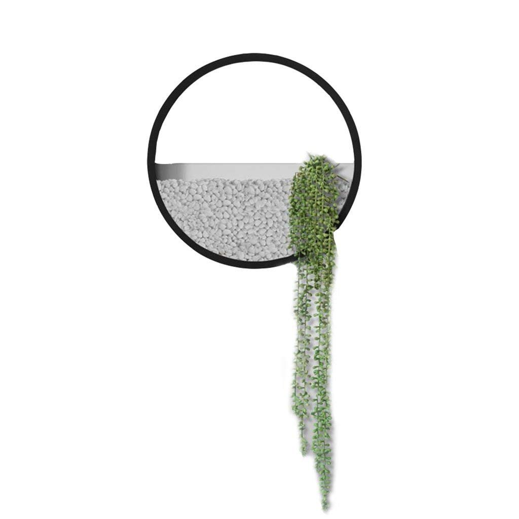 305cm LUHEN SimpleWall Decoration Creative Round Pendant Entrance Wall Hanging Restaurant Green Flower Basket Living Room Wall Pot Wall Flower Distribution Small Stone Long Pearl (Size   15  5cm)