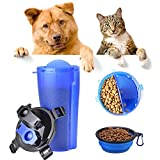 NACOCO 2 in 1 Dog Drinking Water Bottle Pet Food Folding Bowl Travel Portable Cup Drinker Dispenser Dogs Cats (Blue)