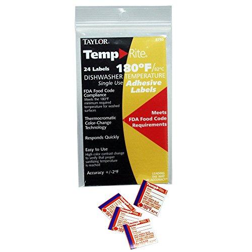 Taylor 8750 TempRite 180°F Dishwasher Test Labels - 24 / PK (Dishwasher Test Strips 160)