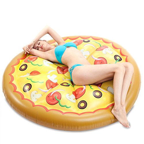 (JOYIN Giant Inflatable Round Pizza Pool Float, Fun Beach Floaties, Swim Party Toys, Pool Island, Summer Pool Raft Lounge for Adults & Kids)