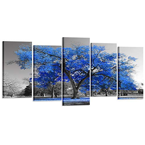 (Kreative Arts Canvas Print Wall Art Painting Contemporary Blue Tree in Black and White Style Fall Landscape Picture Modern Giclee Stretched and Framed Artwork (XLarge Size 80x40inch))