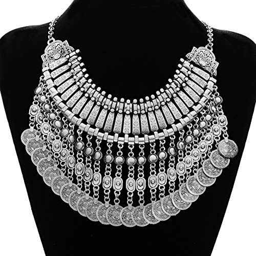 MJartoria Ethnic Boho Gypsy Antique Silver Color Bib Chunky Tassel Collar Choker Festival Coin Necklace (Silver Bib Necklace)