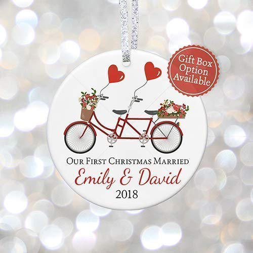 Married 2018, Personalized Tandem Bicycle Xmas Gift for New Couple, Bridal Shower Keepsake - 3