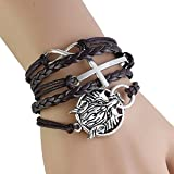 : CAETLE ®Vintage Women Girl Bracelet Leather Rope Infinite Bangle Perfect miracle The Wolf totem