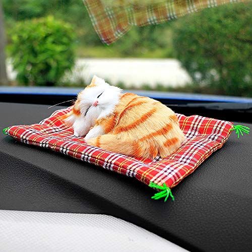Areena Shop Car Ornaments Cute Simulation Sleeping Cats Decoration Automobiles Lovely Plush Kittens Doll Toy Children Gifts Accessories
