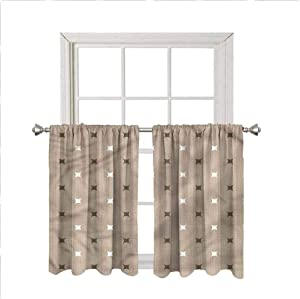 Abstract Window Valance Curtains,Modern Star Figures Artsy Thermal Insulated Short Straight Drape Valance for Living Room Kitchen Bedroom,Rod Pocket,Matching with Curtain Panels,42 x 36 Inch, 2 Panels