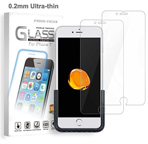 iPhone 7 Tempered Glass Screen Protector for Apple iPhone 7, 0.2mm Ultra-thin (Twice Tempered), Super Strong 10H Hardness, Easy-applied Fixture, Bubble Free, Proud-Focus Screen Protector 2-PACK