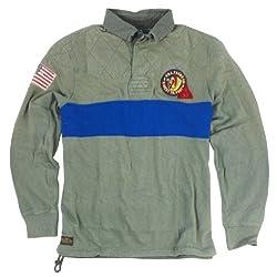 Polo Ralph Lauren Men's Longsleeve Indian Patch Rugby Shirt (Large, Green)