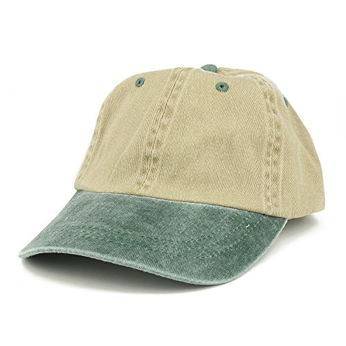 Armycrew Low Profile Blank Two-Tone Washed Pigment Dyed Cotton Dad Cap - Khaki Green (Tone Khaki Two)