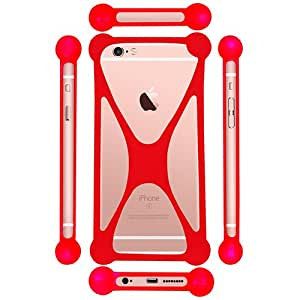 Casotec Universal Silicone Bumper Frame Soft Gel Phone Case Cover for Lenovo Sisley S60 - Red