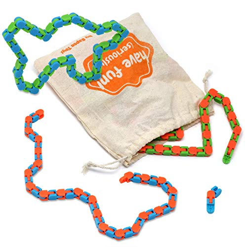 bapon 3 Wacky Track Snap n Click Puzzles with Double The Standard Links, with Bonus Storage Bag Toys