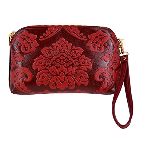 Felice Womens Premium Embossed Leather Clutch Handbag Multicompartment Card Slot Smartphone Wallet Cross Body Purses (red) ()