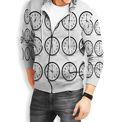 (Coaballa Men Zipper Hoodie Clock Decor with Kanga Pocket)