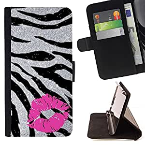 For Samsung Galaxy S4 IV I9500 Kiss Zebra Fur Silver Glitter Sparkling Pink Style PU Leather Case Wallet Flip Stand Flap Closure Cover
