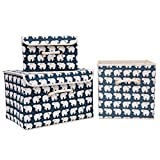 Generic Canvas Fabric Storage Boxes with Strong Cotton Rope Handle, Foldable Basket Organizer Storage Bins with Lid Drawer Organizers, Set of 3 (color5) offers