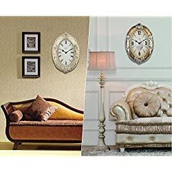 XIE European-style living room art wall clock creative electronic clock mute oval wall clock , antique white , 20 inches