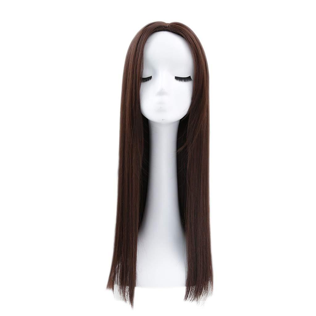 Wig Princess Cut Wig Female Long Straight Hair Wig Invisible Seamless Hair Set (Color : Deep Maroon) by ZJ-wig