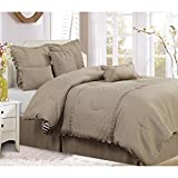 PH 7 Piece Queen Black/Tan/White Comforter Set, Reversible & Down Alternative Bedding Bedroom Set, Contemporary Style, Geometric Chevron Pattern, Polyester Material, Machine Washable