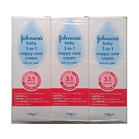 Johnsons bebé 3 en 1 Crema Pañal Cuidado con óxido de zinc - 3 x 110gm: Amazon.es: Hogar