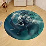 Gzhihine Custom round floor mat Swimming Elephant Underwater. African elephant in ocean with mirrors and ripples at water surface.