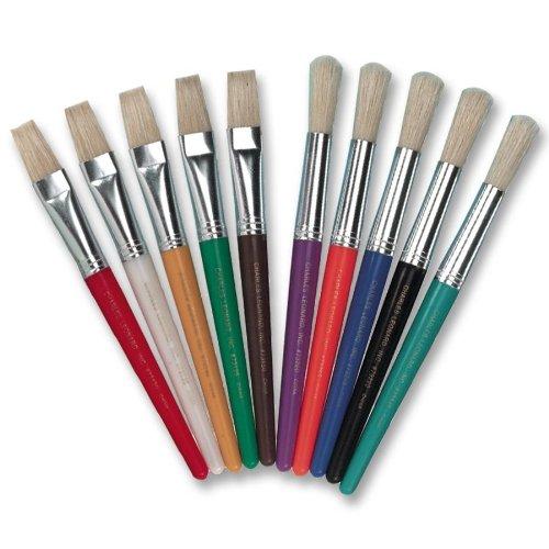 Charles Leonard Brushes, Stubby Round, Green, Black, Blue, Red, Turqouise, Orange, Purple, Yellow, White, Brown, 10/Set (73210)