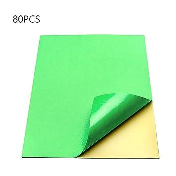 80pcs hojas de papel de impresión autoadhesivas color, A4 ...