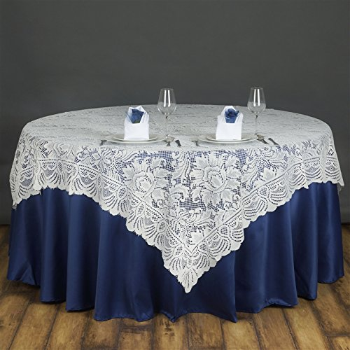 BalsaCircle 72x72-Inch Ivory Lace Table Overlays - Wedding Reception Party Catering Table Linens (Circle Lace)