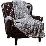 "Chanasya Super Soft Warm Elegant Cozy Fuzzy Fur Fluffy Faux Fur with Sherpa Stone Embossed Pattern Gray Throw Blanket (50"" x 65"") - Solid Stone Pattern Silver Gray"