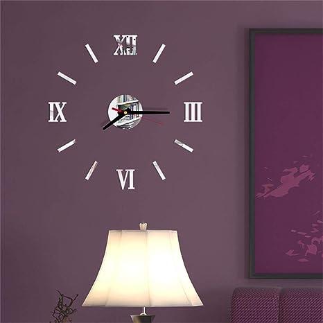Image of Zhangbo - Reloj de pared con números romanos, acrílico, espejo de pared, diseño de espejo