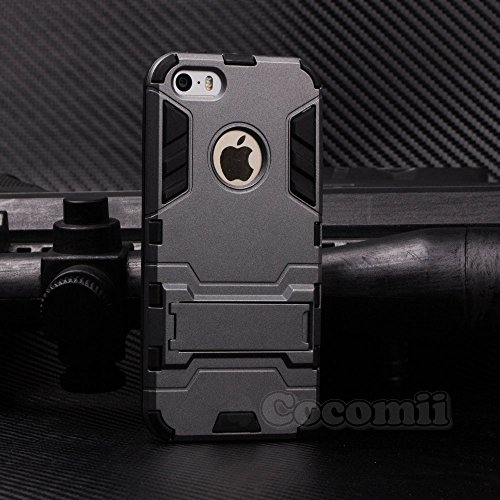 iPhone SE / 5S / 5C / 5 Case, Cocomii Iron Man Armor NEW [Heavy Duty] Premium Tactical Grip Kickstand Shockproof Hard Bumper Shell [Military Defender] Full Body Dual Layer Rugged Cover Apple (Gray)