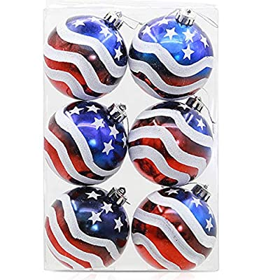 Geek-M 12PCS Stars & Stripes Christmastree Ball Ornaments 8mm Patriotic Ball Hanging Independence Day Party Decor Holiday Wedding Tree Decorations