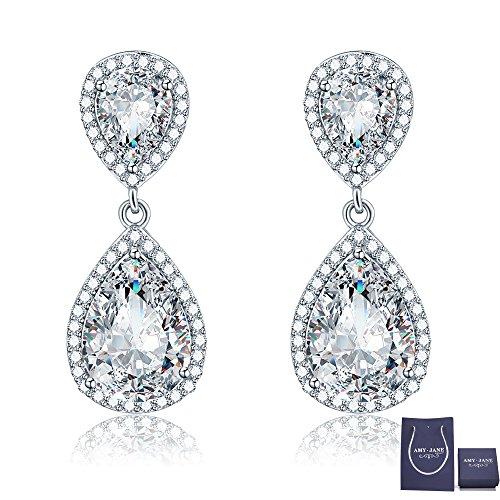 Teardrop Dangle Earrings for Wedding - AMYJANE Classic Silver Zicron Cubic  Crystal Drop Earrings Pierced Austrian Style Womens Bridal Jewelry for Bride  ...