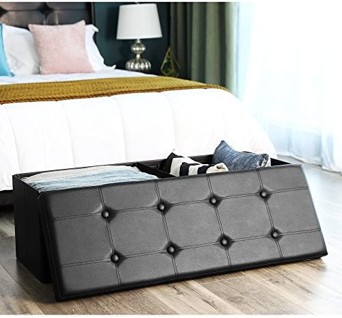 home, kitchen, furniture, accent furniture,  ottomans 6 picture SONGMICS 43 Inches Folding Storage Ottoman Bench, Storage in USA