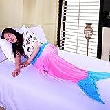 Balichun Mermaid Tail Blanket for Adult/Teen (Adult, Pink/Blue)