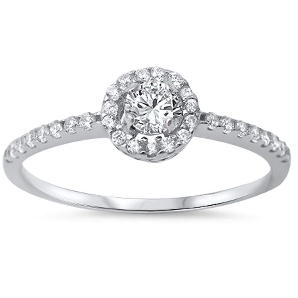Princess Kylie Halo Set Clear Cubic Zirconia Circular Ring Sterling Silver