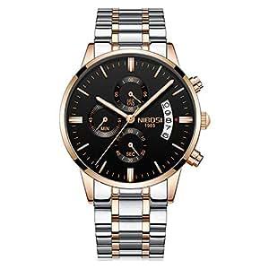 Relojes Pulsera Tres Sub-dials Cronógrafo Calendario Cuarzo Relojes Hombre Correa de Acero Inoxidable Elegante, Oro Rosa-Plateado: Amazon.es: Relojes