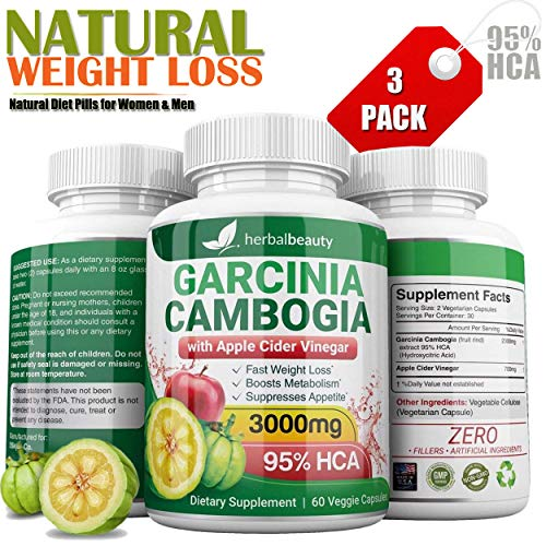 Pure Garcinia Cambogia Extract & Apple Cider Vinegar- 3000mg Capsules - All Natural Weight Loss, Detox, Digestion & Circulation Support - Best Weight Loss Supplement & Carb Blocker (3 Pack) (Apple Cider Vinegar Diet And Garcinia Cambogia)