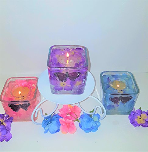 Gel Candle Embeds - Reusable Gel Wax Candles with Hydrangeas & Butterfly Embeds in Variety of Colors