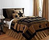 9 pc DELAWARE King Quilt Set Black & Tan Western Star Primitive Country Lodge Bedding Bundle
