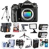 Pentax K-1 Digital SLR Camera Body - Bundle Camera Case, 64GB SDXC Card, 2x Spare Batteries, Tripod, Video Light, Shotgun Mic, Flip Flash Bracket, Compact Charger, Software Package More