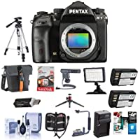 Pentax K-1 Digital SLR Camera Body - Bundle With Camera Case, 64GB SDXC Card, 2x Spare Batteries, Tripod, Video Light, Shotgun Mic, Flip Flash Bracket, Compact Charger, Software Package And More
