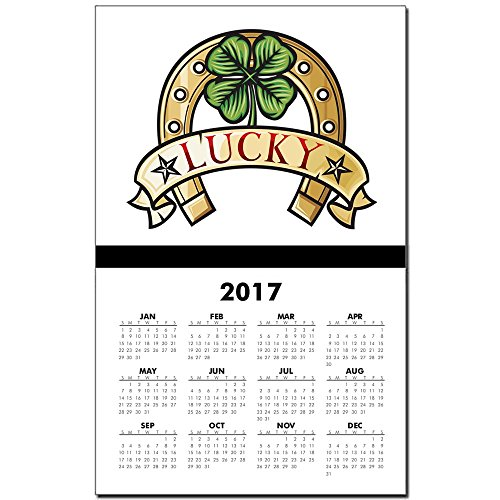 Calendar Print w Current Year Lucky Horseshoe with Four Leaf Clover